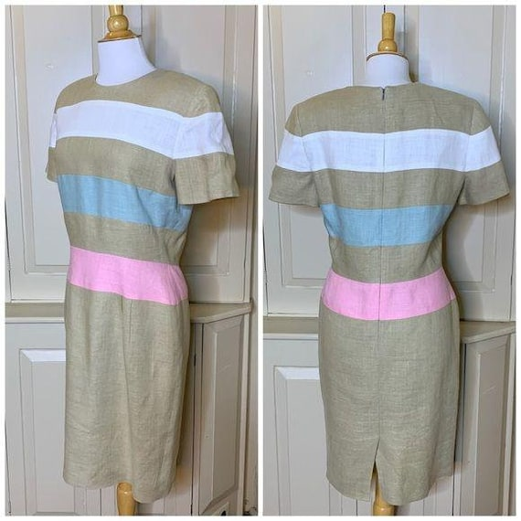 SCAASI Vintage 1980s Striped Linen Dress Size 12 - image 3