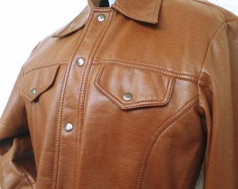 Faux Leather Jacket 70s Pleather Jacket Vegan Bohemian Fake Leather Coat Brown Button Up 1970s Boho Hippie Vintage Medium