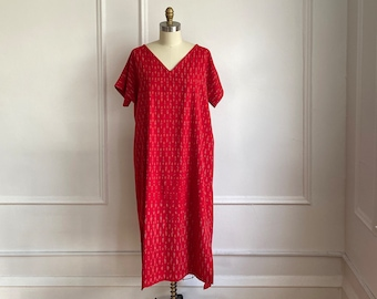 Nightgown Housedress Sleepwear Kaftan Dresses SM Blue Red Floral Printed House Dresses Nightwear Women Maxi Dress