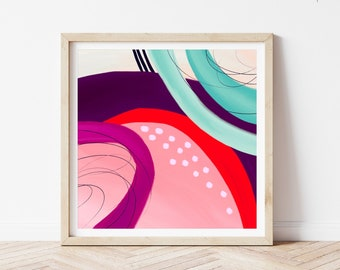 Large Bright Colorful Neon Pink Yellow Painting Prolifik Abstract Paper Print Maximalist Art Deco Wall Decor Modern Rainbow Home