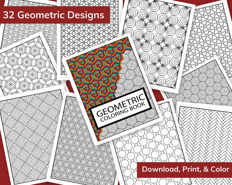 Printable Coloring Book  32 Geometric Designs to Print Color image 0