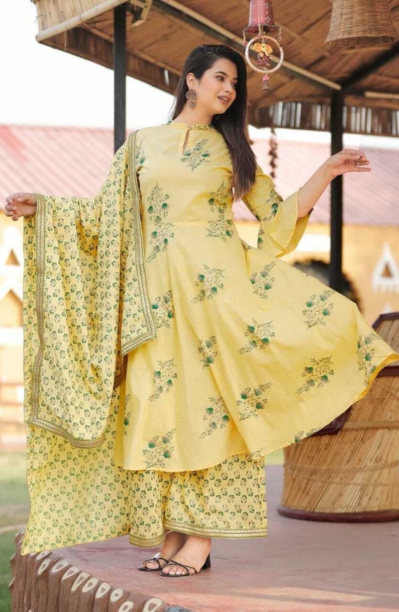 Women Indian Ethnic Palazzo Kurta Yellow Dupatta Block Print Kurta Pajama Combo