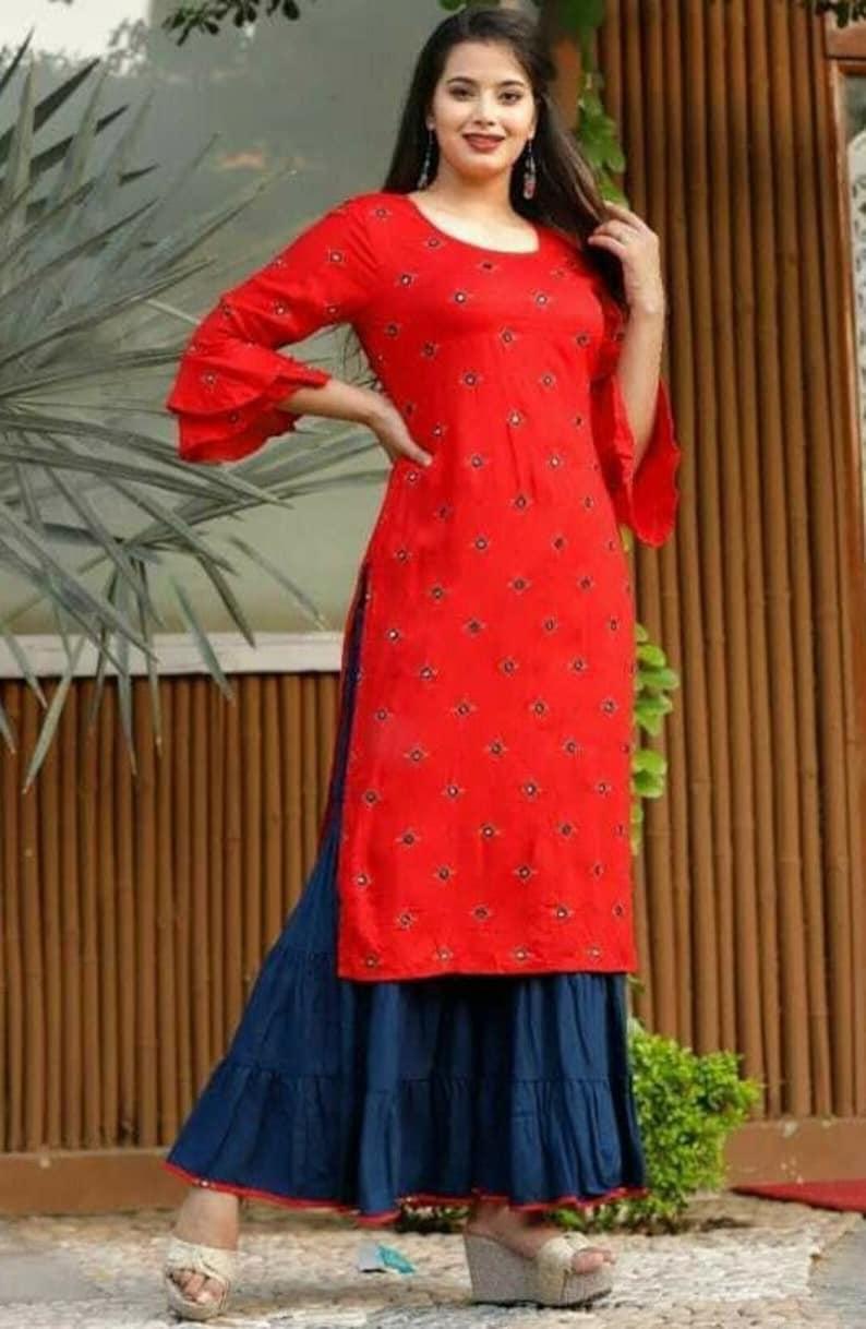 Women Indian Ethnic Palazzo Kurta Readymade Mirror Work Kurti Sharara Suit Combo