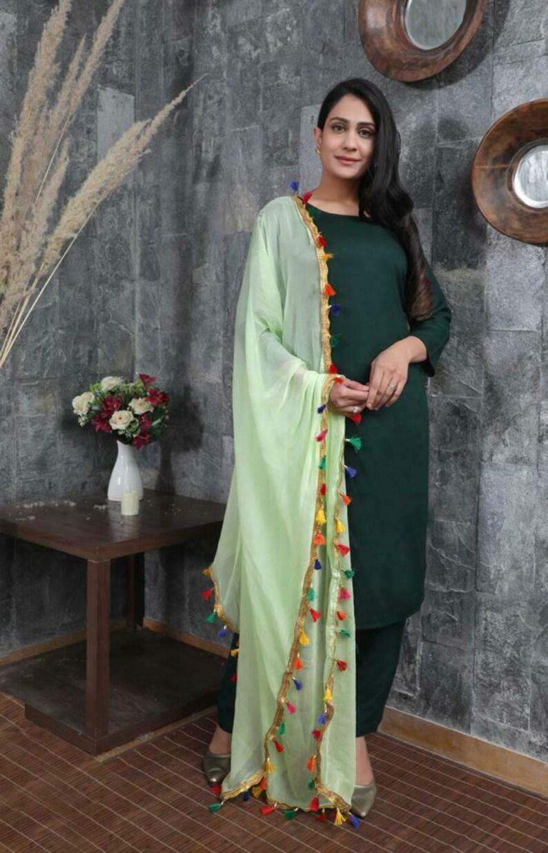 Women Indian Ethnic Green Palazzo Kurta With Dupatta Stitched Salwar Kameez Suit