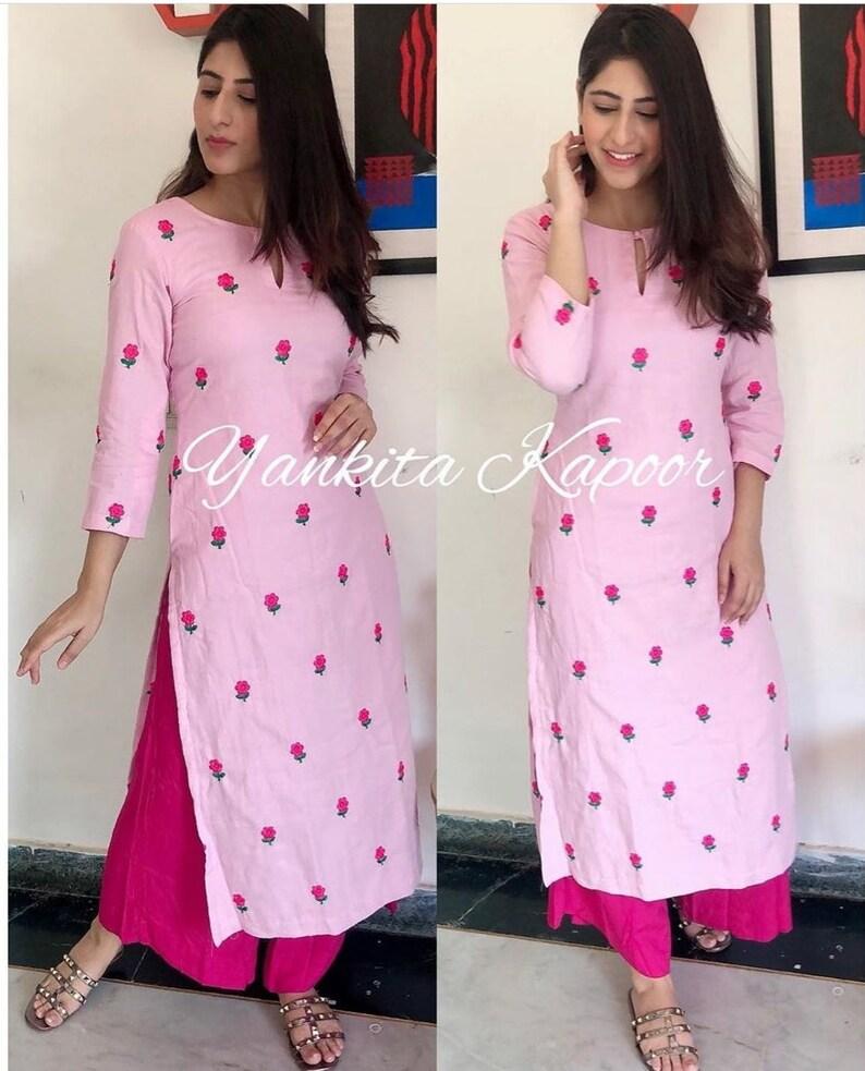 Indian Decent Palazo Kurta Elegant Salwar Kameez Beautiful Kurta Printed Palazzo Pink Color Kurti By Heritage Hub