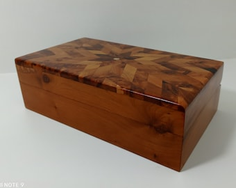 new 2 Pebbl boxes thuya wood grain knots Handmade gift jewelry pebble boxs