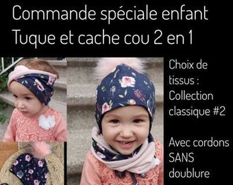 Special order, 2-in-1 unlined toque and neck cover set with removable pompom, pattern of your choice