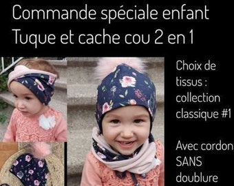 Special order, Toque set with cords and neck cover 2 in 1 unlined with removable pompom, pattern of your choice