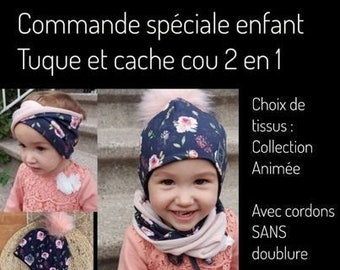Special order, Toque set with cords and 2 in 1 unlined neck cover for children with removable pompom, pattern of your choice