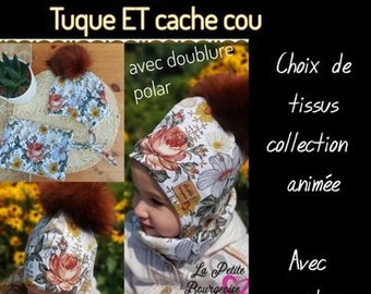Special order, Toque set with cords and neck cover lined with polar for children with choice of fabrics and removable pompom