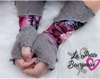 Fingerless gloves from the romantic skulls collection