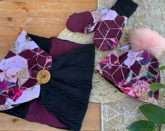 Trio toque lined with polar, pleated scarf and mittens lined with polar floral hexagon, adult size