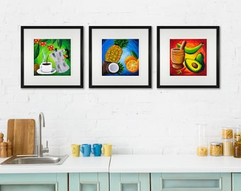 """Puerto Rico Kitchen Triptych """"Cocina de Puerto Rico"""" Prints. Set of Three Prints of my original paintings perfect for the Kitchen or Dining"""