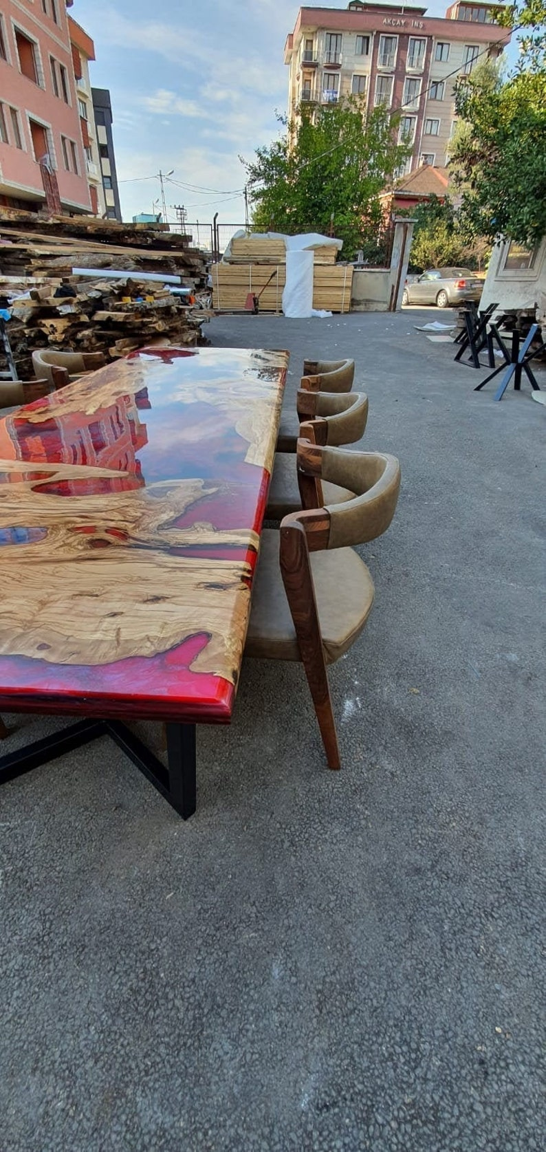 Red Epoxy Resin Table Tops