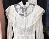 Vintage Gunne Sax White Bridal Dress Size 9