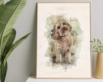 Personalised Pet Portrait, Custom Dog Portrait, Custom Pet Portrait, Pet Painting from Photo, Watercolor Effect Pet Portrait, Dog Lover