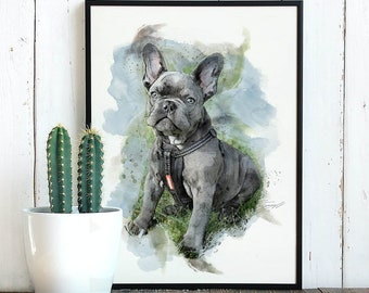 Custom Watercolor Pet Portrait, Pet Portrait, Custom Dog Portrait, Pet Illustration, Pet Art Print, Dog Lover Gift, Father's Day