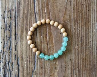 Essential Oil Diffuser Bracelet: Natural Sandalwood & Aventurine Beads