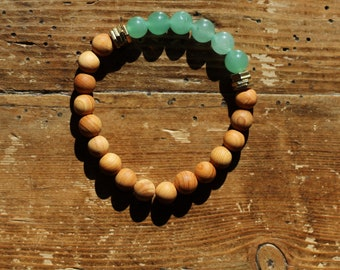 Essential Oil Diffuser Bracelet: Natural Sandalwood & Aventurine Beads with Gold Washers