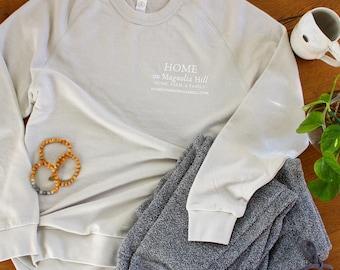 Magnolia Design, Light Grey Color, Lightweight Sweatshirt: Home on Magnolia Hill