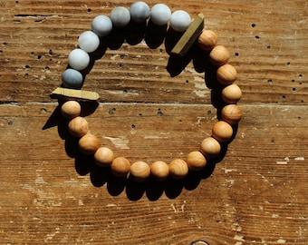 Essential Oil Diffuser Bracelet: Natural Sandalwood, Hawk Eye, & Gold Titanium Raw Quartz