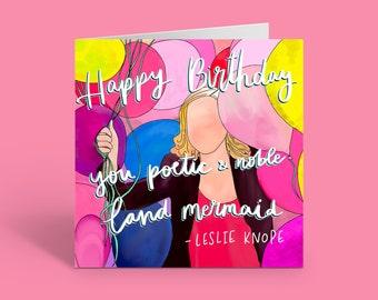 Leslie Knope Happy Birthday Card   Parks and Recreation Greeting Card   US TV Show   Amy Poehler   Free UK Delivery