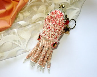 Accessory for a bag Cuttlefish. Keychain coin purse Squid from beads