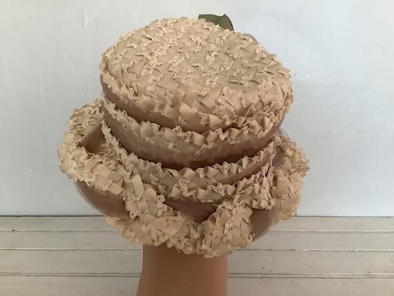 Vintage 1960 Summer Straw Hat Union Made, Cloche … - image 5