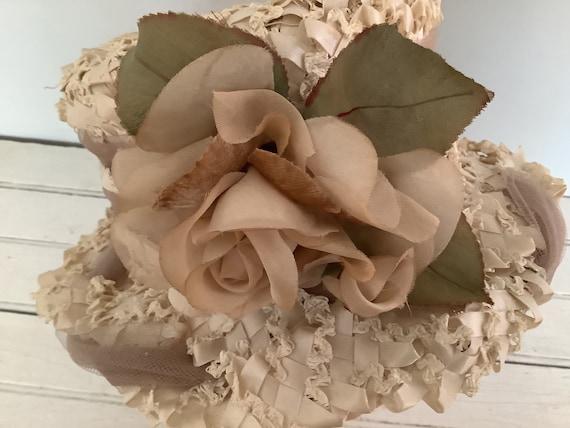 Vintage 1960 Summer Straw Hat Union Made, Cloche … - image 6