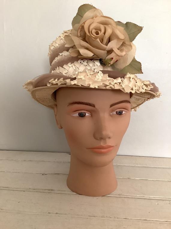 Vintage 1960 Summer Straw Hat Union Made, Cloche … - image 1