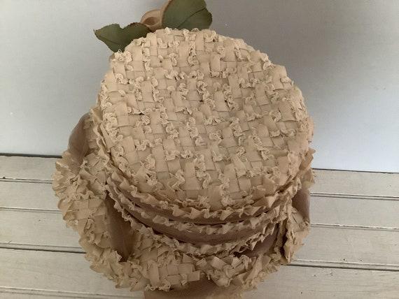 Vintage 1960 Summer Straw Hat Union Made, Cloche … - image 10