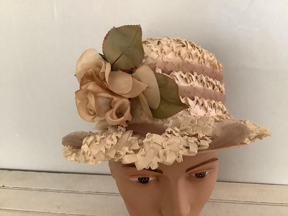 Vintage 1960 Summer Straw Hat Union Made, Cloche … - image 2