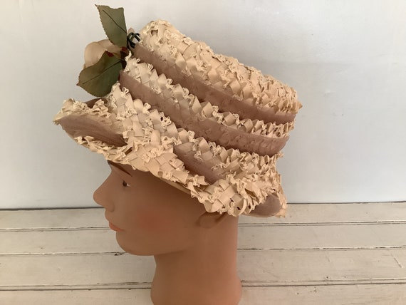 Vintage 1960 Summer Straw Hat Union Made, Cloche … - image 3