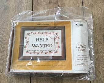 Vintage crewel, Help Wanted sign, The creative circle, 7088, crewel kit, crewel craft, vintage crewel, frame