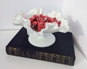 Vintage Fenton Silver Crest Milk Glass Footed Candy Dish with Ruffled Edge, Art Glass