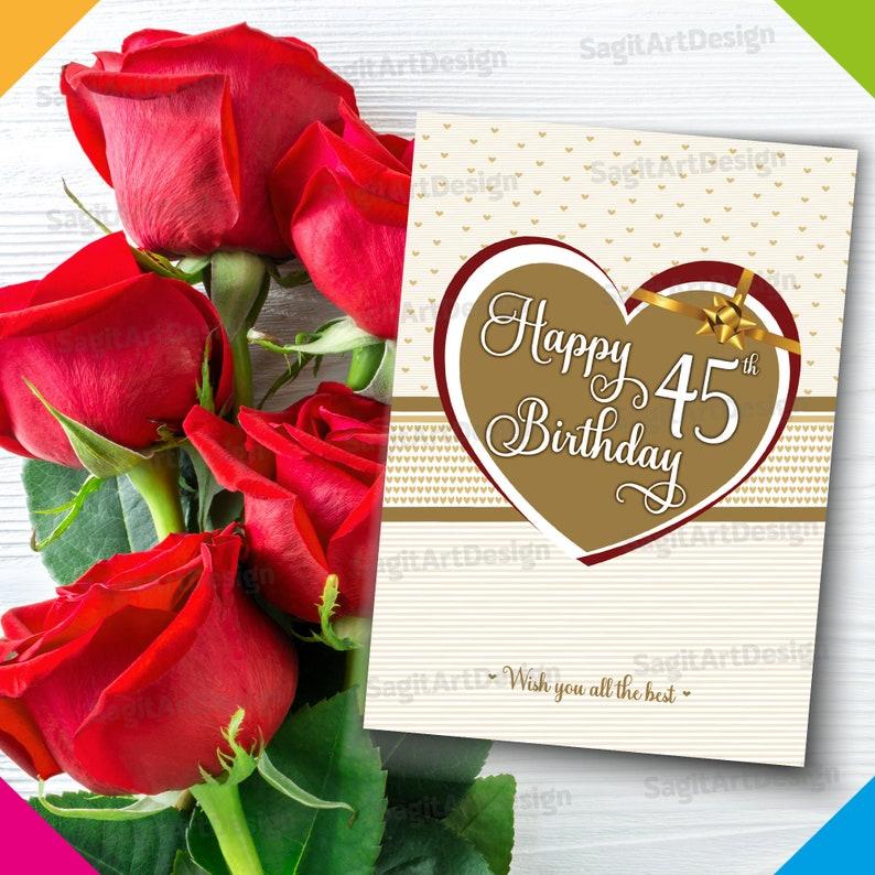 45th Birthday Card Mum Happy Birthday Card Happy 45th Printable Birthday Card Printable Happy Birthday Gold Card for Her Him
