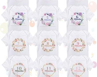 Six month monthly milestone personalized bib Baby milestone shirt or onesie sea life baby milestone shirt or onesie