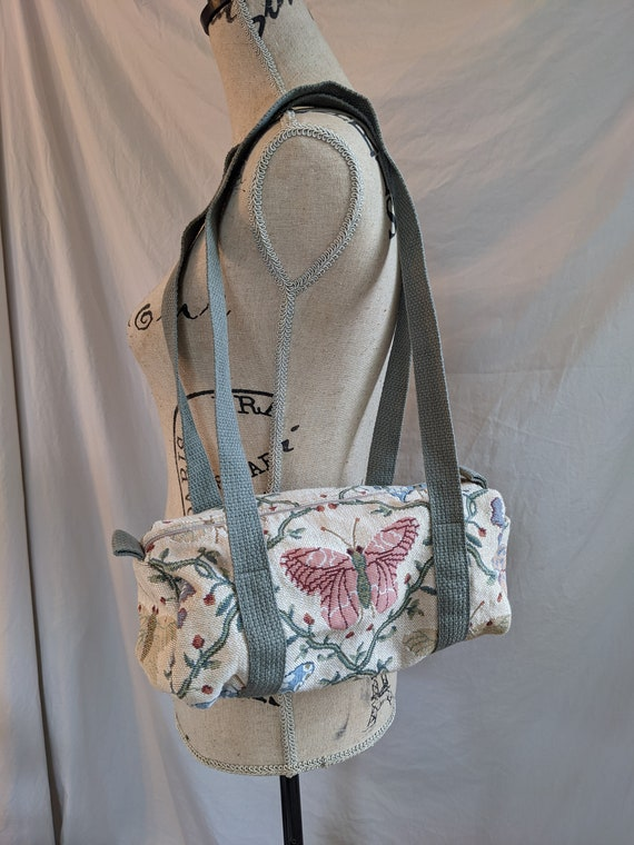 Butterfly Embroidered 90s Fabric Shoulder Bag