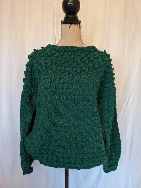 Handmade Knit Forest Green Oversize Sweater