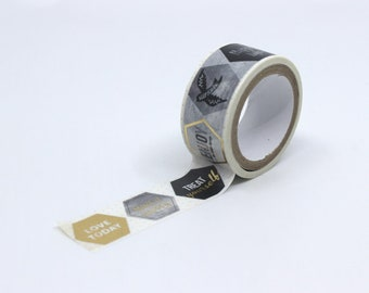 Washi tape gold foil black and white inspirational quote decorative paper tape full roll 15mm Japanese masking tape 7 meters scrapbooking