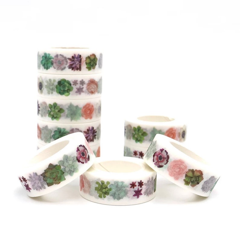 Washi tape succulent decorative paper tape full roll 15mm Japanese masking tape 10 meters scrapbooking journal planner