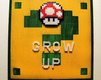 Red Mushroom - Super Mario Bros. - Pixel Perler Bead Art on a Wood Carved ? Box - Wall Art