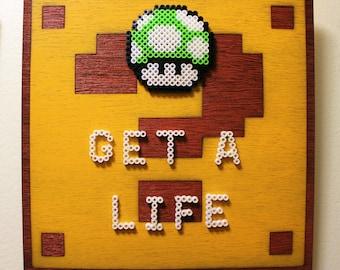 Green Mushroom 1 Up- Super Mario Bros. - Pixel Perler Bead Art on a Wood Carved ? Box - Wall Art