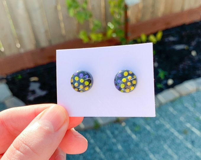 Abstract Earrings Tiny Earrings Minimalist Stud Earrings Polka Dot Earrings Rainbow Studs