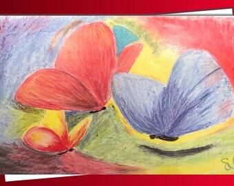 Blank Greetings Card - Pastels Butterflies