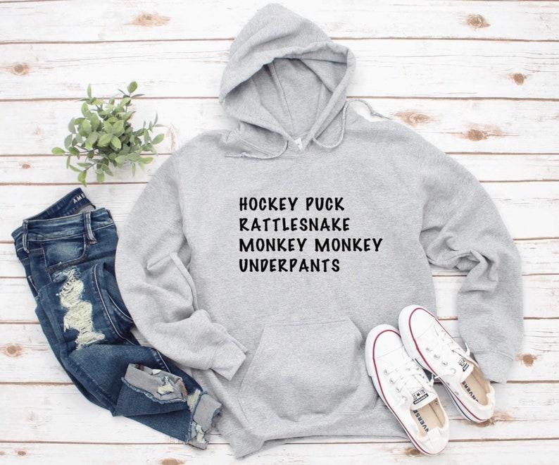 Monkey Monkey Rattlesnake Gilmore Girls inspired Hoody featuring Lorelai quote Hockey Puck underpants