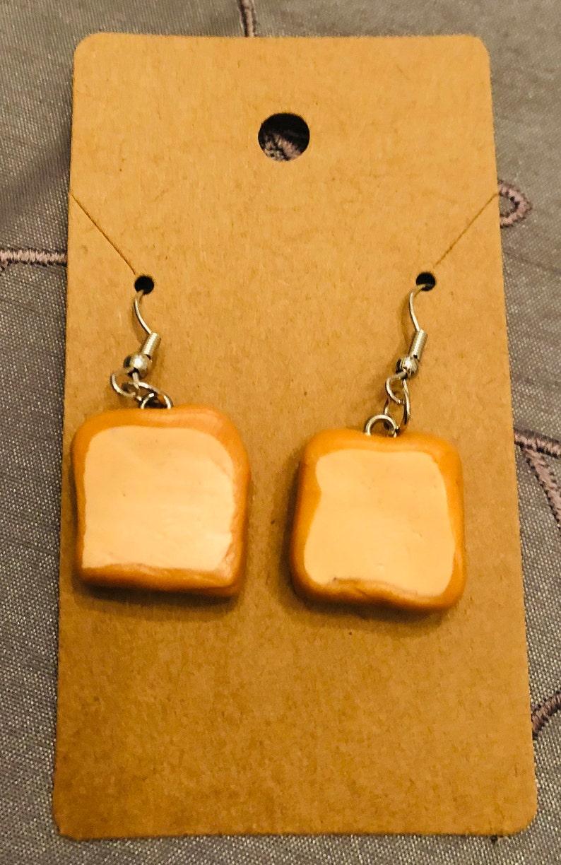 Bread Slice Earrings Handmade Clay Earrings