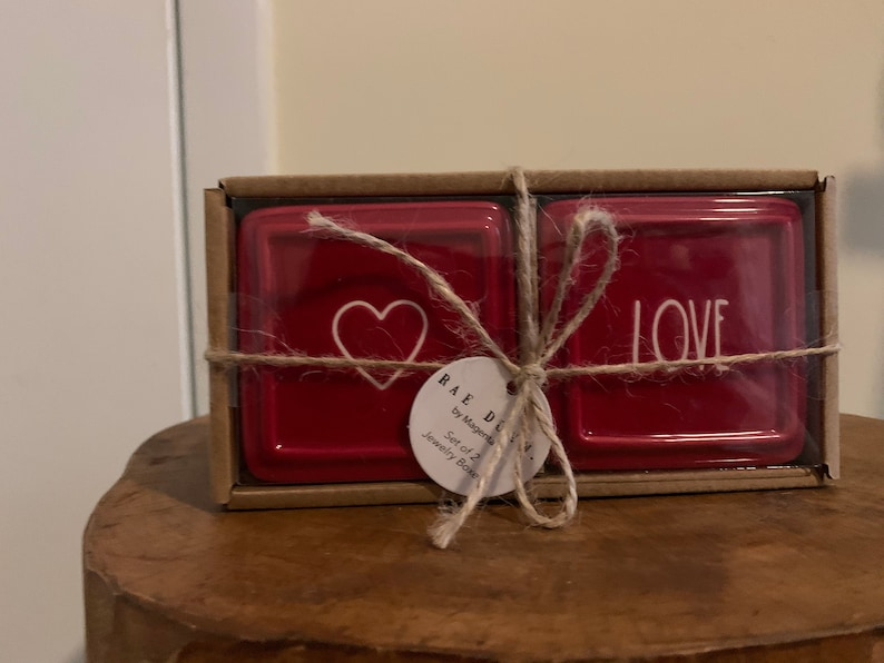 Rae Dunn Set of 2 Valentine\u2019s Day Small Red Jewelry Boxes