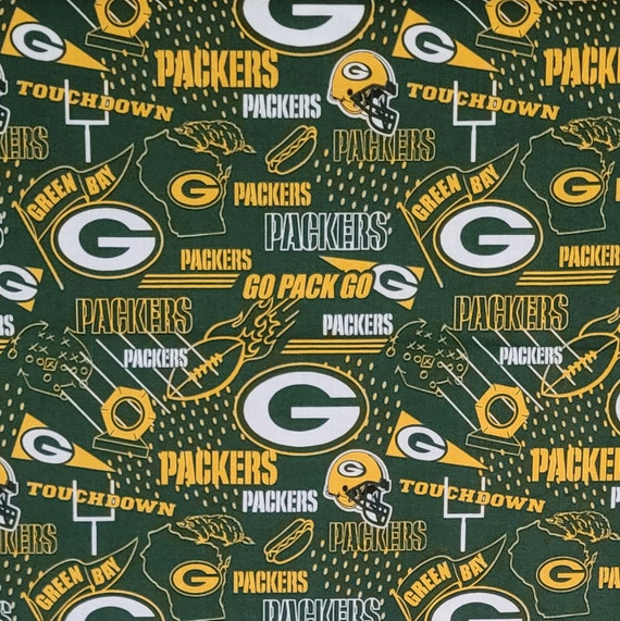 Green Bay Packers Fabric By The Yard Nfl Hometown Print Etsy