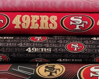 49ers Fabric By The Yard - NFL Licensed Logo Prints - 100% Cotton